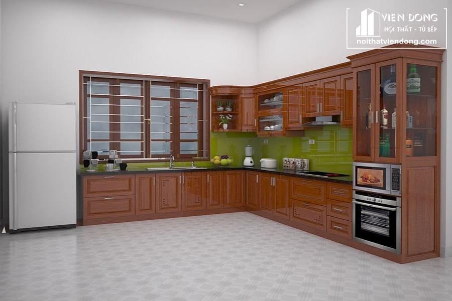 Kiểu tủ bếp gỗ xoan đào hình chữ L