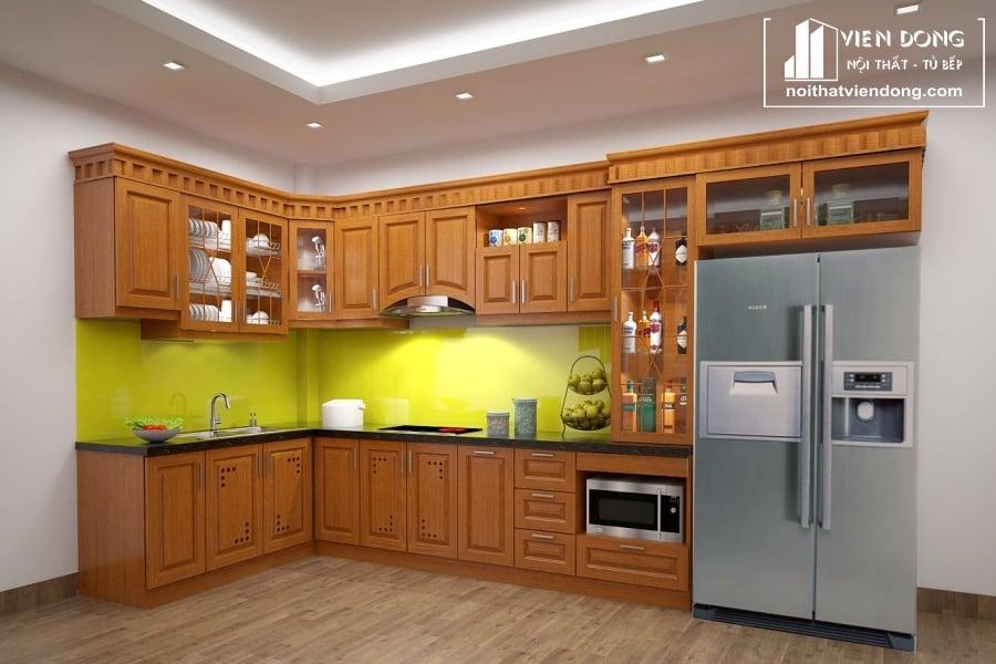 mẫu tủ bếp đẹp làm từ inox 304