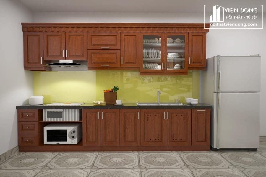Tủ bếp gỗ xoan đào đẹp chữ I - hình 2