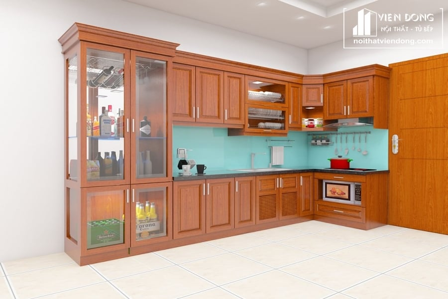 Tủ bếp gỗ xoan đào TBX143
