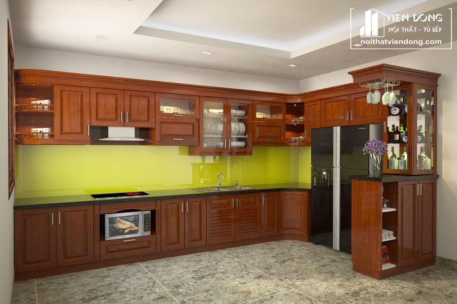 Tủ bếp gỗ xoan đào TBX151