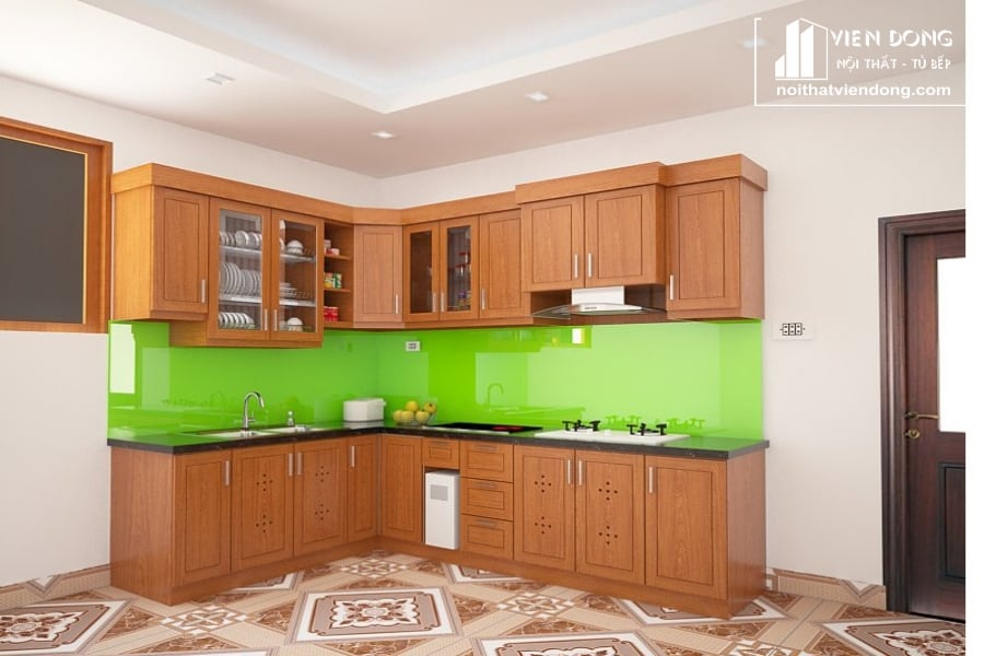 Tủ bếp gỗ xoan đào TBX160