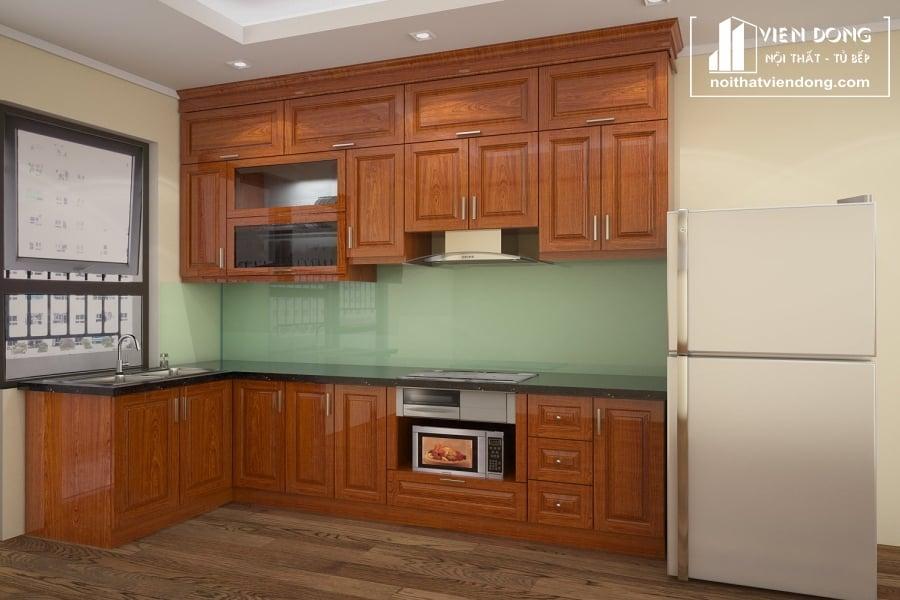 Tủ bếp gỗ xoan đào TBX162