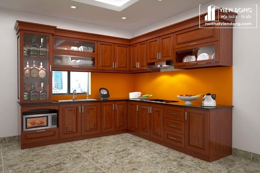 Tủ bếp gỗ xoan đào TBX167