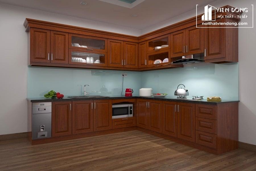 Tủ bếp gỗ xoan đào TBX168