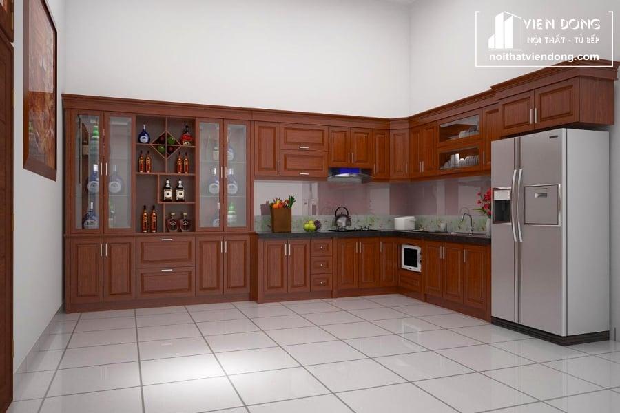 Tủ bếp gỗ xoan đào đẹp TBX182