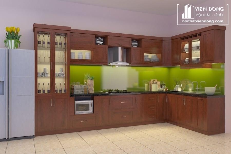Tủ bếp gỗ xoan đào đẹp TBX193