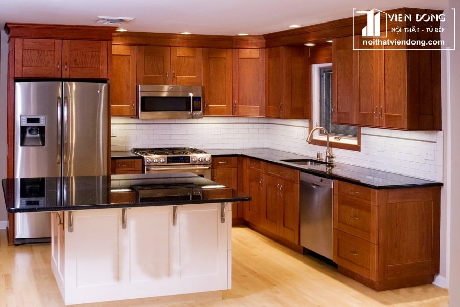 Tủ bếp gỗ xoan đào TBX195