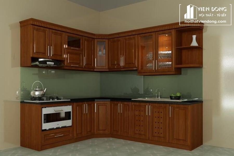 Tủ bếp gỗ xoan đào TBX197