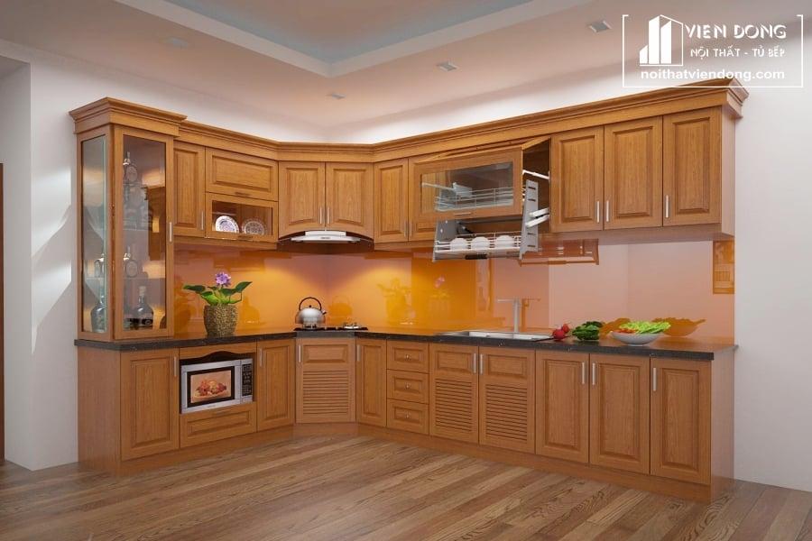Tủ bếp gỗ xoan đào giá rẻ TBX201