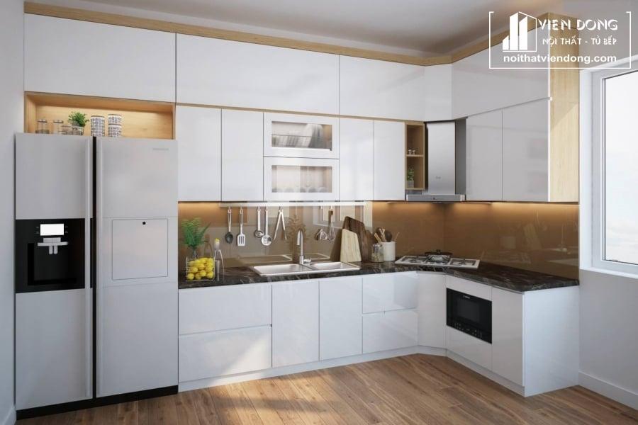 mẫu tủ bếp melamine chữ L màu trắng