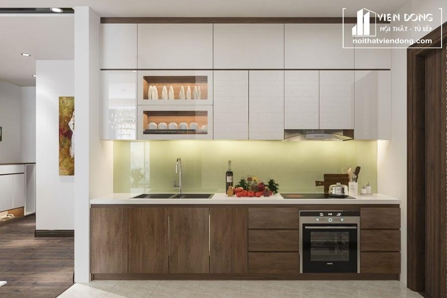 mẫu tủ bếp được làm từ gỗ melamine