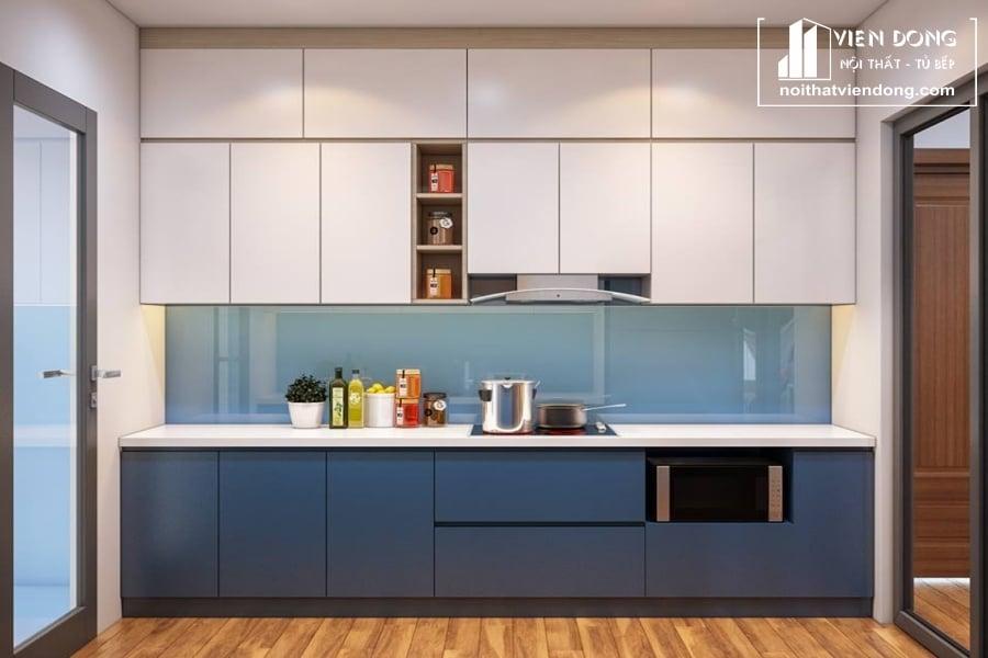 tủ bếp chữ I đơn giản được làm từ gỗ Melamine