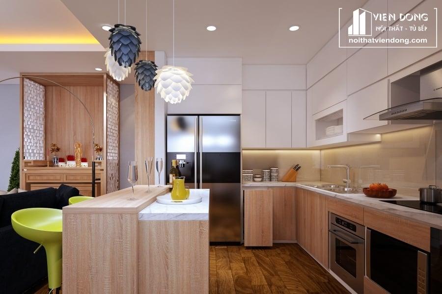 Tủ bếp nhựa chữ L TBN022 đẹp