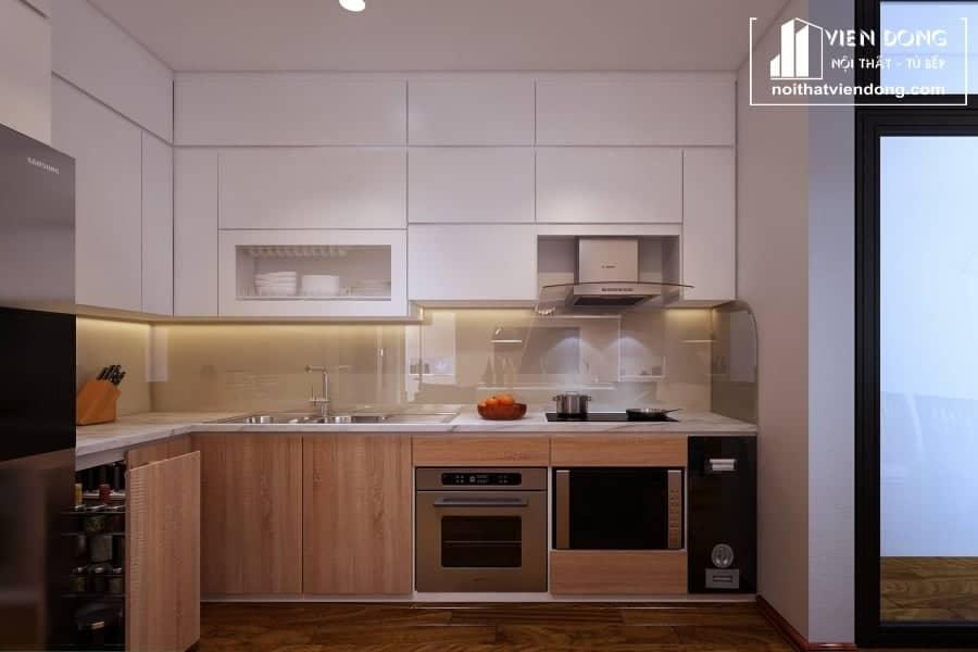 Tủ bếp nhựa chữ L TBN024 đẹp