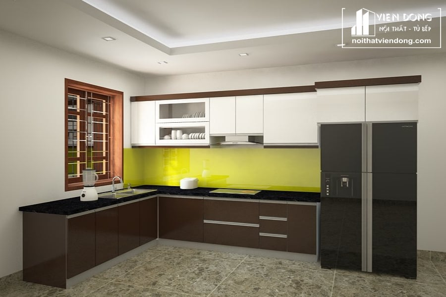 Tủ bếp nhựa chữ L TBN051 đẹp
