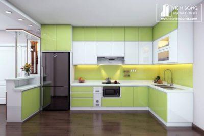 tủ bếp màu xanh kết hợp màu trắng