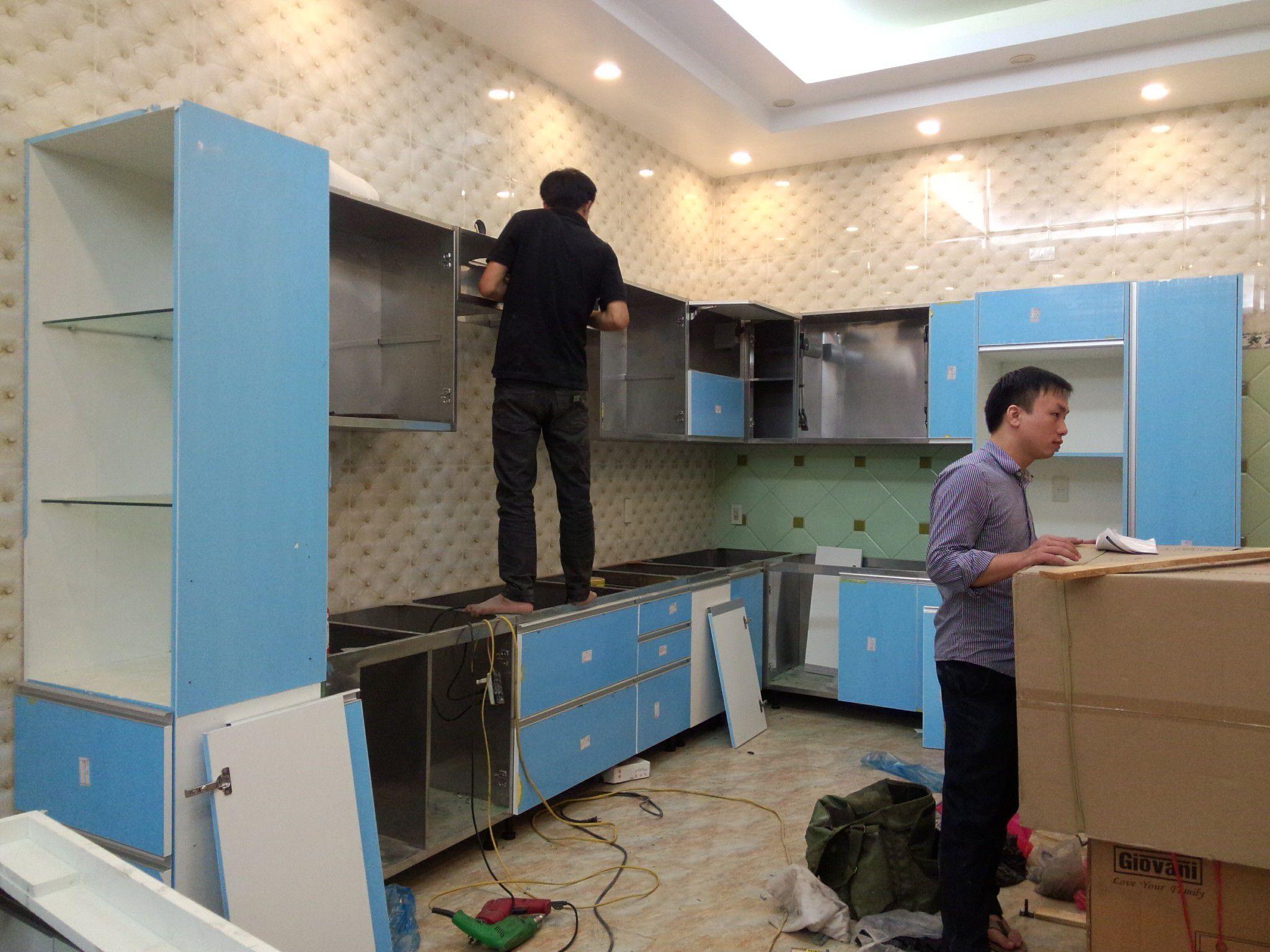 kết cấu tủ bếp inox, cánh acrylic