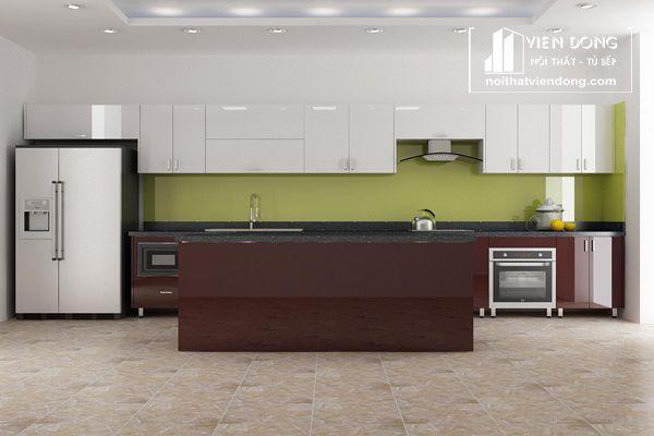mẫu tủ bếp inox cánh gỗ công nghiệp - hình 3
