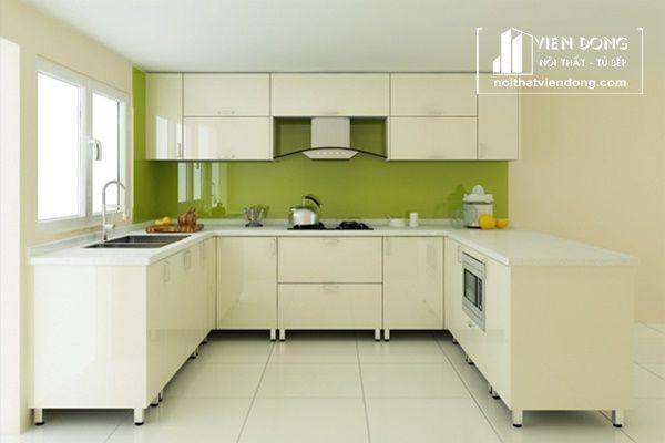tủ bếp thùng inox, cánh acrylic màu trắng