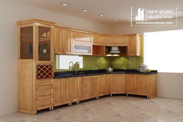 tủ bếp thùng inox, cánh gỗ sồi tự nhiên