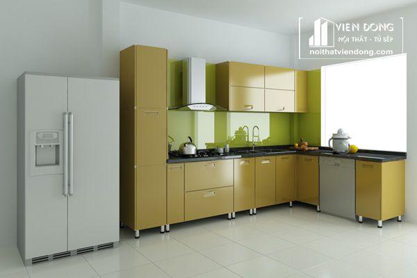 tủ bếp thùng inox, cánh acrylic màu thiết kế đơn giản