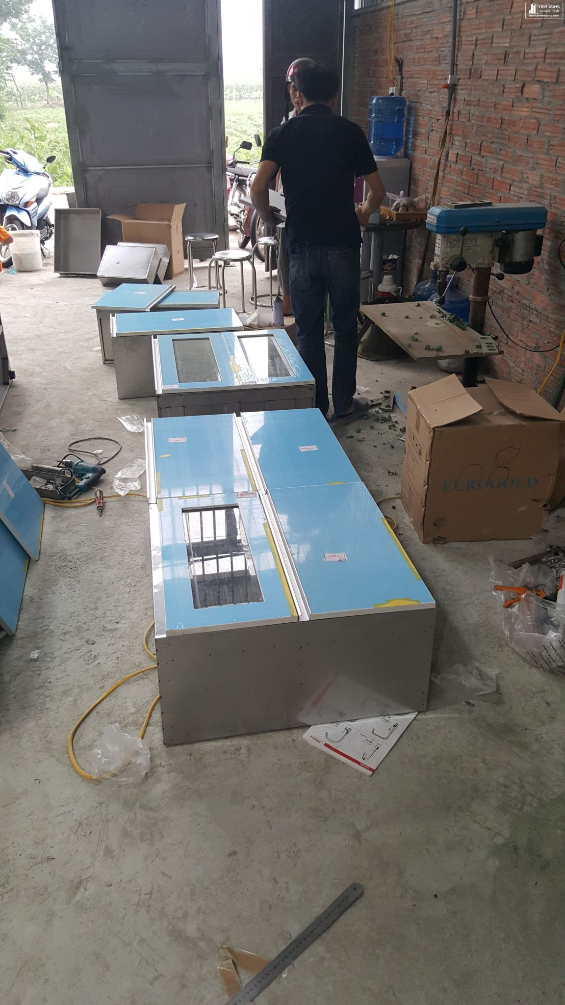 modul thùng tủ bếp inox 304, cánh acrylic an cường