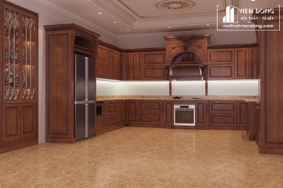 mẫu tủ bếp gỗ gõ đỏ đẹp 006