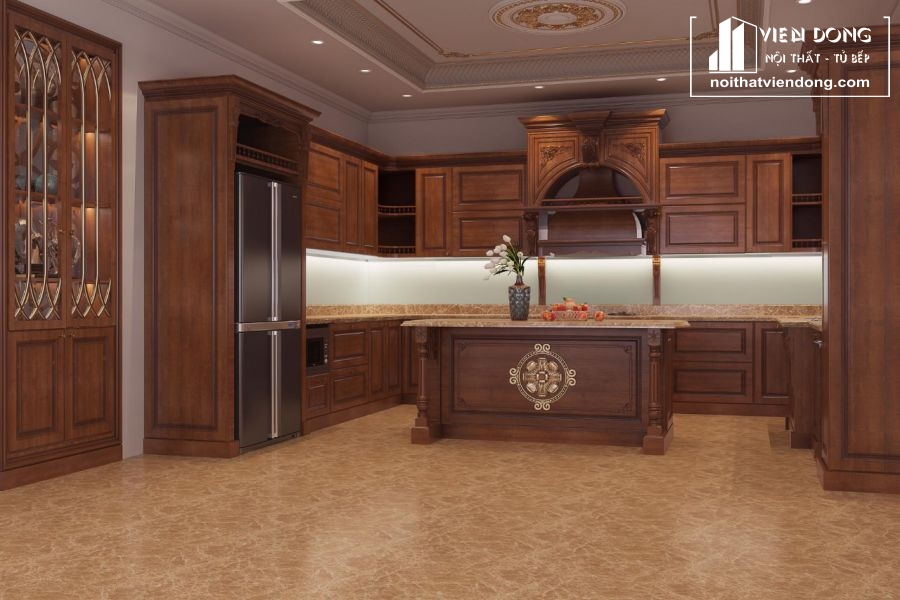 mẫu tủ bếp gỗ gõ đỏ đẹp 007