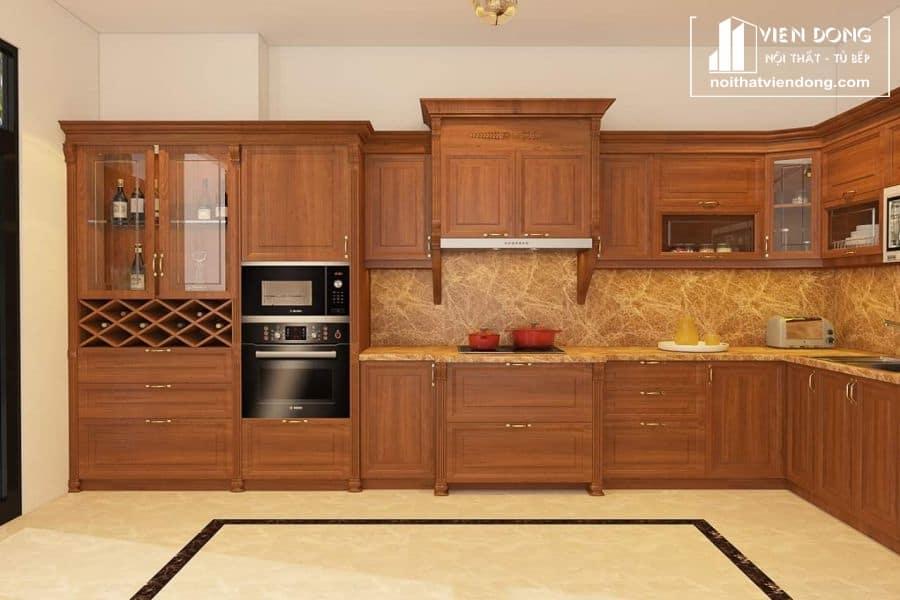 mẫu tủ bếp gỗ gõ đỏ đẹp 010