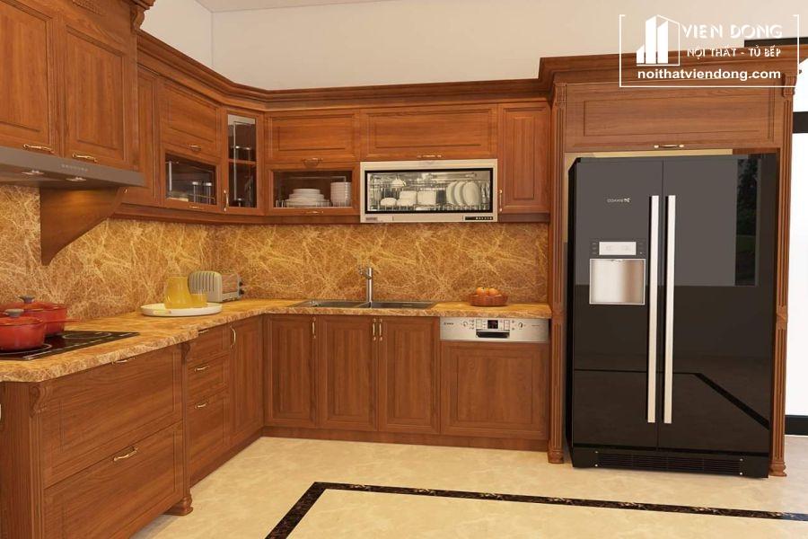 mẫu tủ bếp gỗ gõ đỏ đẹp 011