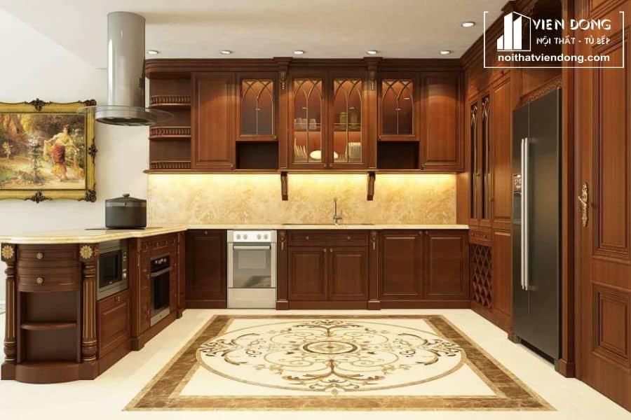 mẫu tủ bếp gỗ gõ đỏ đẹp 013