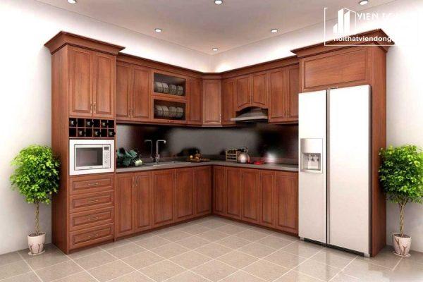 mẫu tủ bếp gỗ gõ đỏ đẹp 015