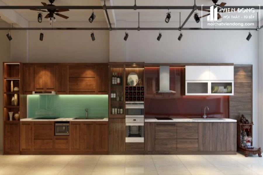 mẫu tủ bếp gỗ óc chó đẹp 011