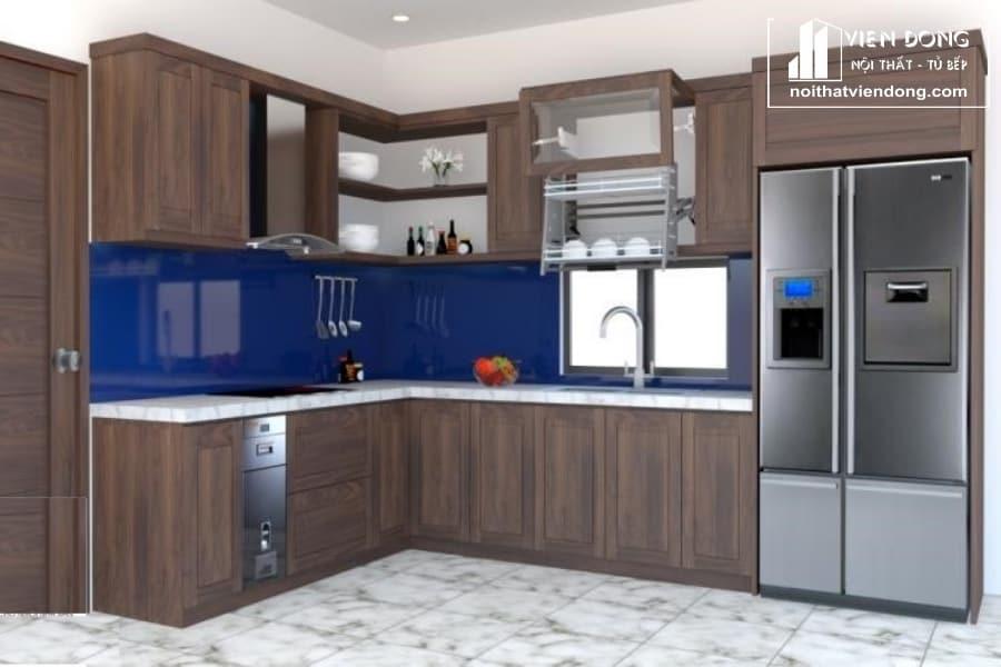 tủ bếp chữ l làm từ gỗ óc chó