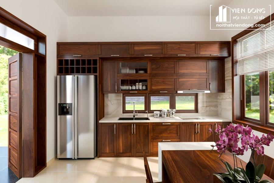 tủ bếp gỗ óc chó tự nhiên