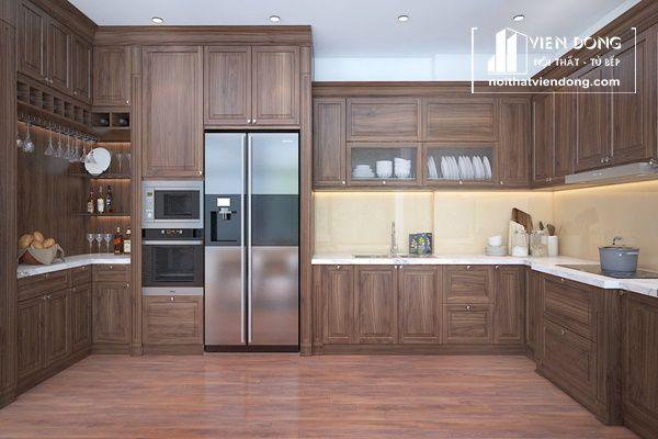 Mẫu tủ bêp gỗ óc chó chữ U cho căn bếp rộng