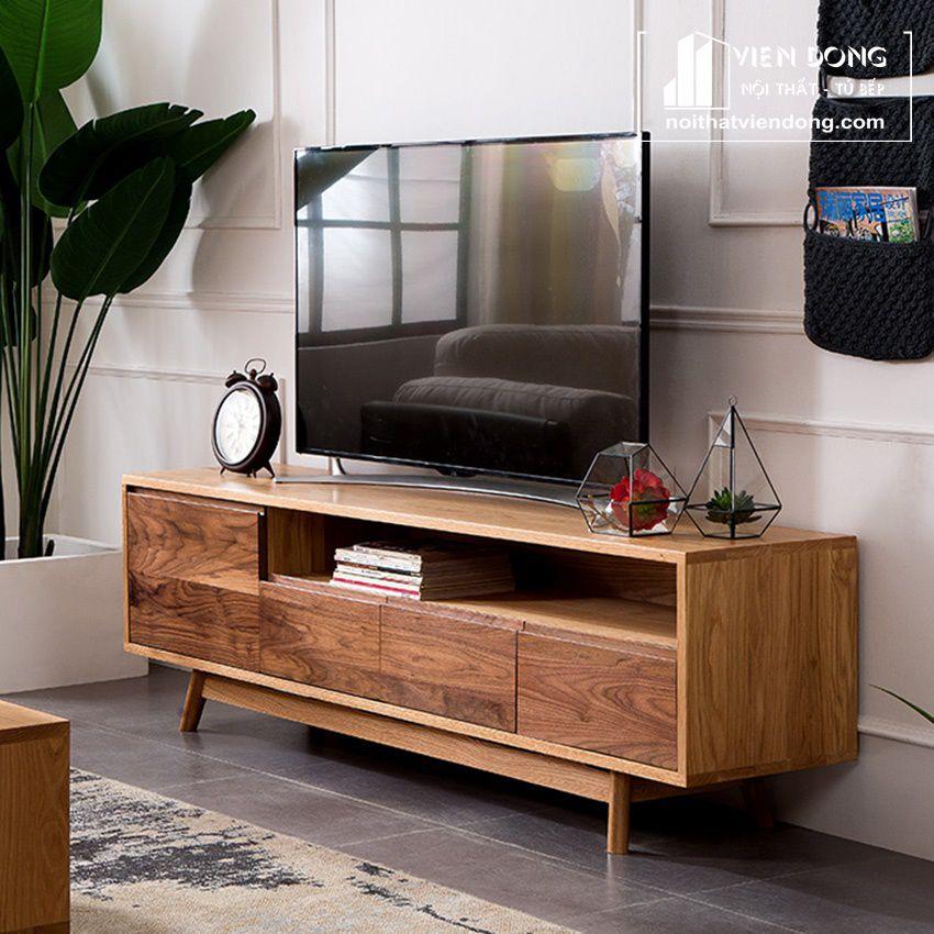 kệ tivi hiện đại gỗ óc chó tự nhiên