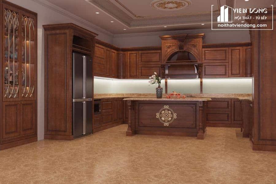 Tủ bếp gỗ gõ đẹp