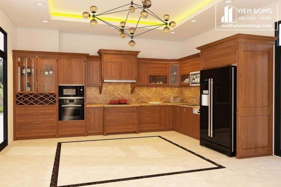 Mẫu tủ bếp gỗ gõ đỏ