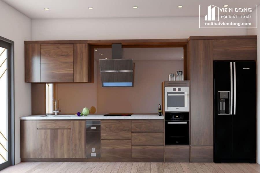 mẫu tủ bếp gỗ óc chó đẹp 007