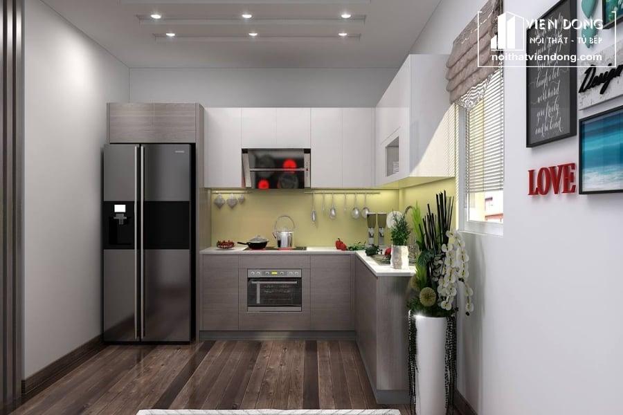 Tủ bếp acrylic chữ L ARC007