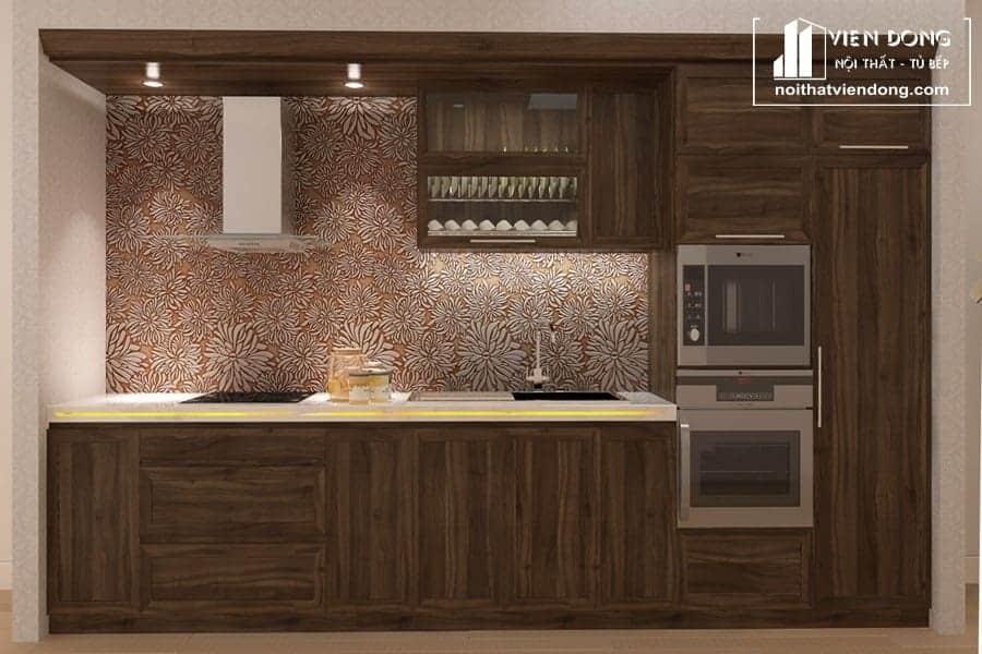 tủ bếp gỗ óc chó hiện đại