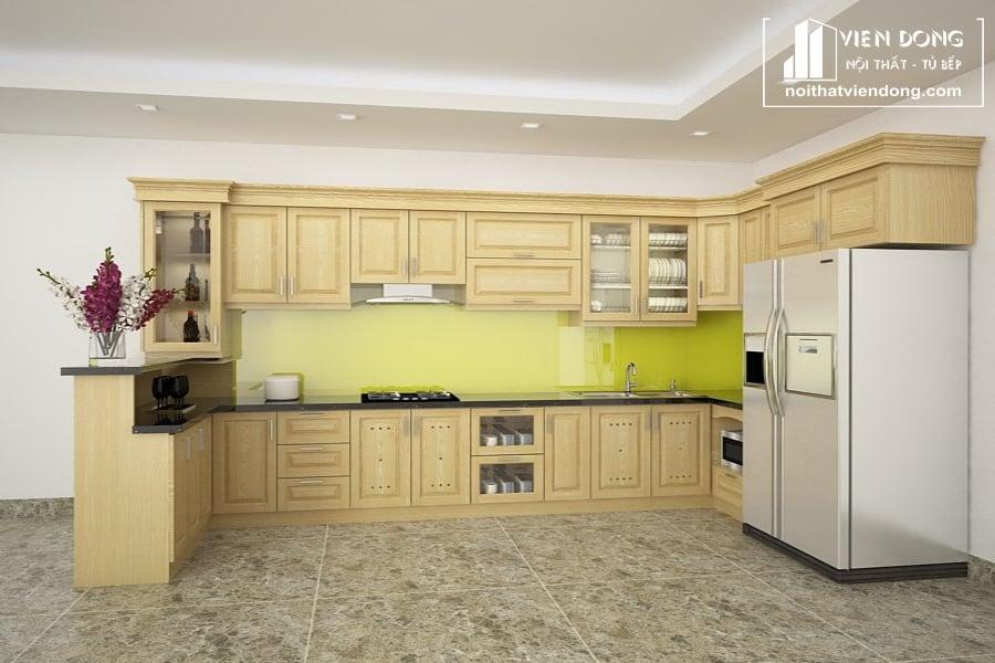 Tủ bếp gỗ sồi TBS003