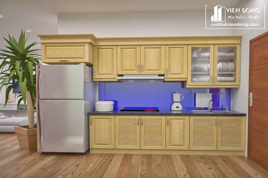 Tủ bếp gỗ sồi chữ I