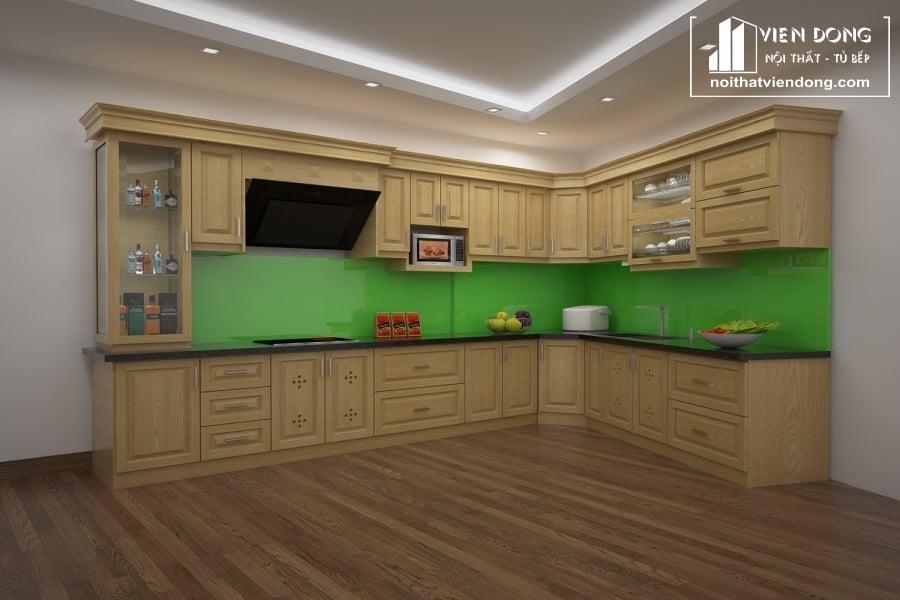 Tủ bếp gỗ sồi nga chữ L
