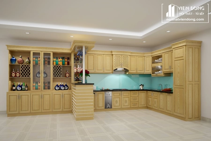 Tủ bếp gỗ sồi nga chữ U