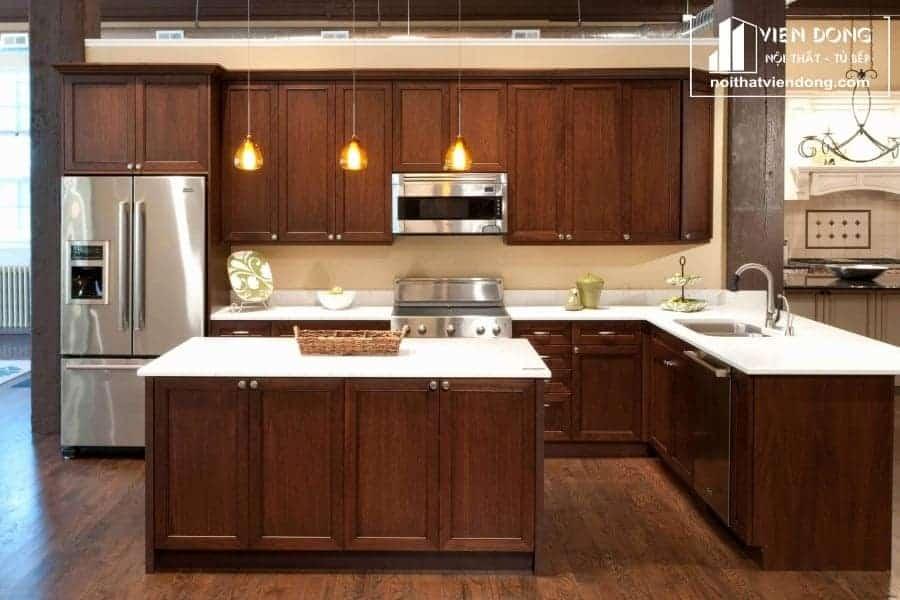 Tủ bếp gỗ sồi nga hiện đại