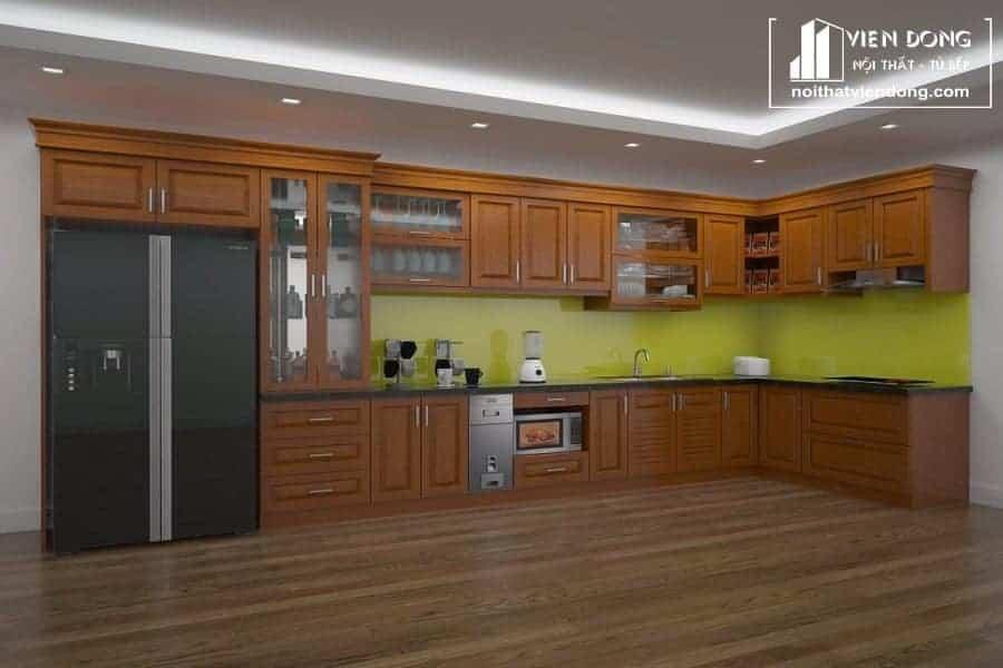 Tủ bếp gỗ xoan đào TBX006