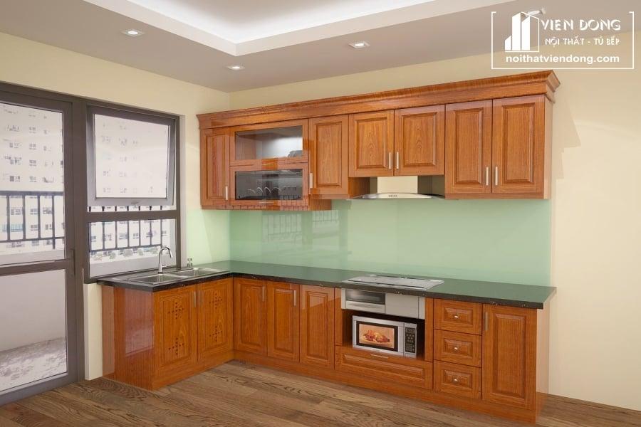 Tủ bếp gỗ xoan đào TBX004